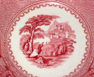 Vtg Jenny Lind Fruit Bowls Royal Staffordshire Red Transferware
