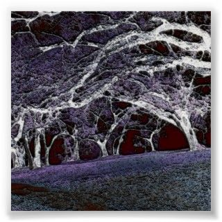 Haunted Forest Mangled Trees at night poster art created by Artist