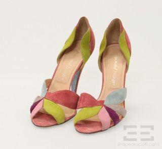Jean Michel Cazabat Multicolor Suede Cutout Heels Size 39