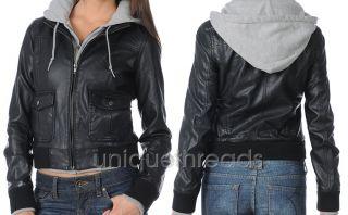 OBEY Women JEALOUS LOVER Black /Heather Faux Leather Hooded Bomber