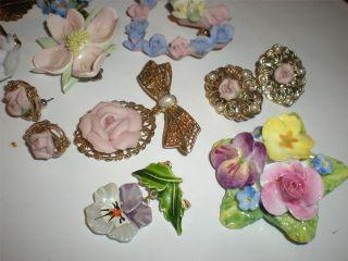 Vintage Bone China England Flower Pins Earrings Ceramic Lot Free