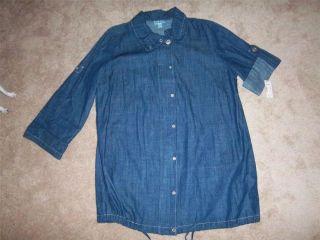 New Dress Barn Light Weight Jean Jacket Long Shirt Size 18 20