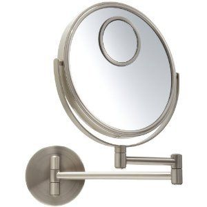 Jerdon 8 Inch Wall Mount Mirror with Spot Mirror, 10X Magnification