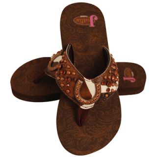 Justin Ladies Flip Flops Nikki Brown Cow Print 5512202