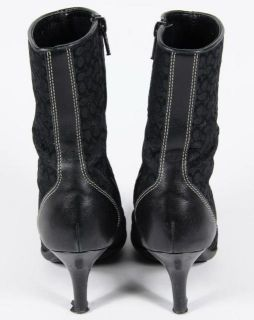 Coach Jeri Signature Black Jacquard Leather Side Zip Ankle Boots Italy