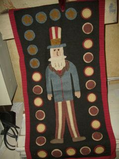 Primitive Felt Wool Penny Rug Uncle Sam Patriotic Americana Folk Art