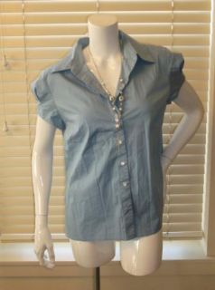 Ann Taylor Light Blue Short Sleeve Button Down Shirt Blouse Womens 14