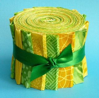 Green Yellow Jelly Roll Fabric Quilting Strips Die Cut No Dups Cotton