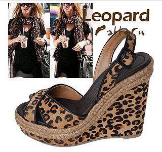 Womes Platform Wedge Heels Ladies Leopard Sandals Shoes