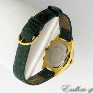 Guess Two Tone Green Leather SS WR Quartz Ladies Watch