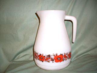 Schott Mainz Jena Glass Pitcher Milk Glass w Floral Band