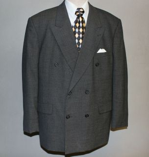 Mens Jeffrey Banks Dark Gray Nailhead Pattern 2 PC Suit 46R W40