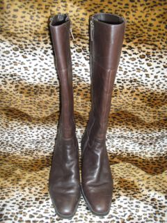 Womens Chaps Jessalyn Brown Leather Boots Shoes Size 7 5 1 2 Knee High