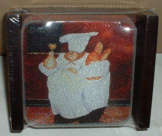 4pc Jennifer Garant Fat Chef Glass Coasters Wood Holder Bistro Cook
