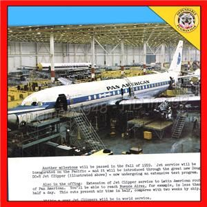 PAN AM AIRWAYS AIRLINE 1959 NEW BOEING 707 & DOUGLAS DC 8 ILLUSTRATED