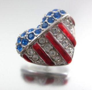 New Swarovski American Flag Heart Crystal Tack Pins