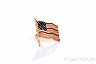 Estate 14k Gold American Flag Enamel Stud Pin Brooch