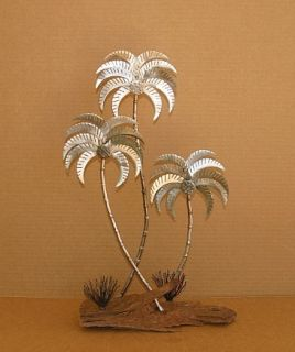 Abstract Metal Palm Tree Sculpture Free Standing Silver Jere Hand Made