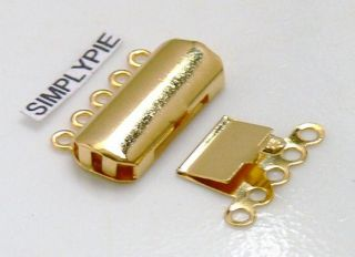 Strand Box Rectangle Gold Plated Clasps 2 Sets 19mm