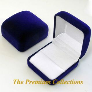 Square Navy Blue Velvet Ring Box Jewelry Gift Box