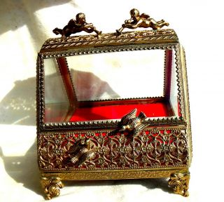 RARE Antique Ormule Jewelry Box Casket Cherubs Angels Doves Beveled