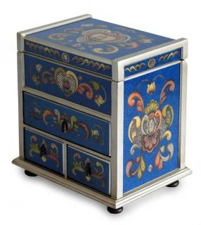 Blue Heart Hand Reverse Painted Glass Jewelry Box Chest