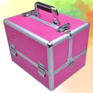 Cosmetic Jewelry Case Lock Keys Strap Aluminum Pink Box Pro Train