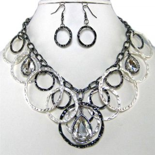 Circle Crystal Silver Costume Jewelry Earrings Necklace Set
