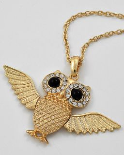 New Flying Owl Pendant Necklace Rhinestone Gold Tone Animal Jewelry