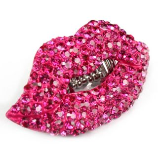 Hot Pink Rhinestone Stretch Cocktail Lips Kiss Ring