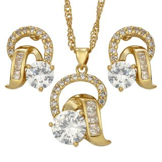 PARTY 18K YELLOW GOLD PLATED WHITE TOPAZ JEWELRY SET NECKLACE EARRINGS