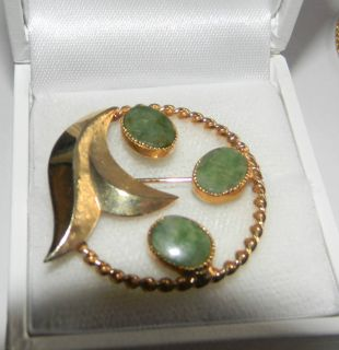 Christmas Wreath 12K Gold Filled Green Moss Agate Jade Brooch Catamore