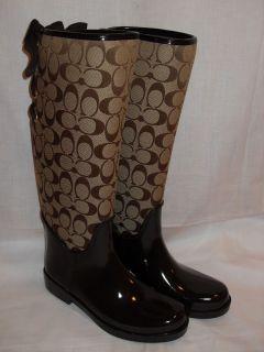 New in Box Coach Tristee Khaki Brown Signature Rain Boots Multiple