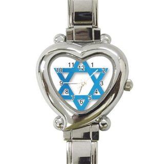 Jewish Star of David Heart Italian Ladies Wrist Watch