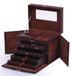 Brown Leather Jewelry Box Case Storage Organizer with Travel Case and