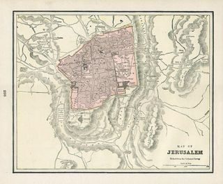 Jerusalem Authentic Antique Map Genuine 115 Years Old Made in 1898