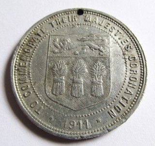 1911 King George V Queen Mary 1911 Coronation Medallion Token