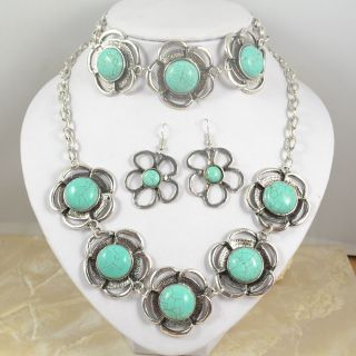 ptd Crystal Necklace Earring Owl Bird Turquoise Jewelry Set