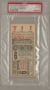 PSA 6 1931 World Series Ticket Oakland As St Louis Cardinals Grove