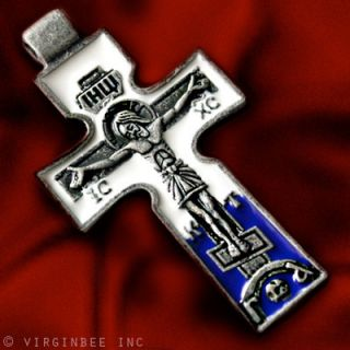 JESUS CHRIST CRUCIFIX ST PETER SAINT CROSS PENDANT ENAMEL RUSSIAN