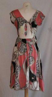 New Sans Souci Pink White Black Dress Small Open Back
