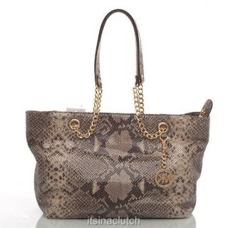 Authentic Michael Kors Jet Set Dark Sand Python Embossed Chain Tote