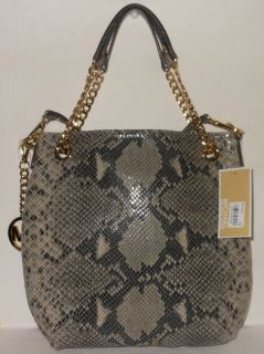 Michael Kors Jet Set Chain Python Medium Shoulder Tote Dark Sand