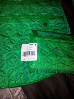 Vera Bradley Nylon Green Gramercy Shoulder Bag w Matching City Wallet
