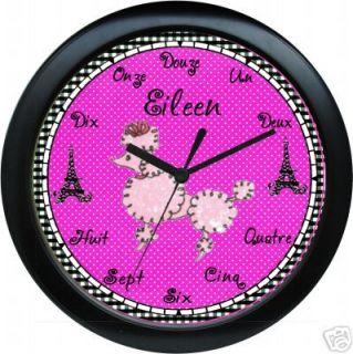 Personalized Pink Poodle Paris Eiffel Tower Art Clock