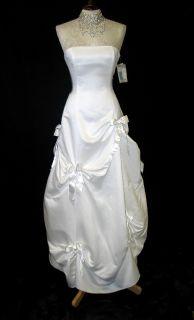 Jessica McClintock White Satin Bustled Dress Ball Gown Size 4