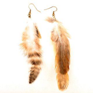 Gray Striped Soft Bird Feather Dangle Lady Boho Chic Jewelry Earrings