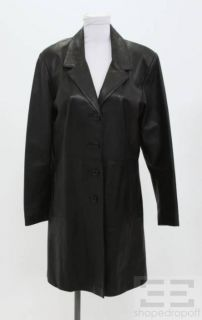 Florence House of Leather Black Leather Button Front Jacket Size