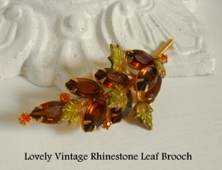 Rhinestone Brooch Pin figural Costume Jewelry Holiday Leaf * LOVELY