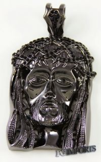 14k B Gold Plated Big Jesus Head Hip Hop Charm w Franco